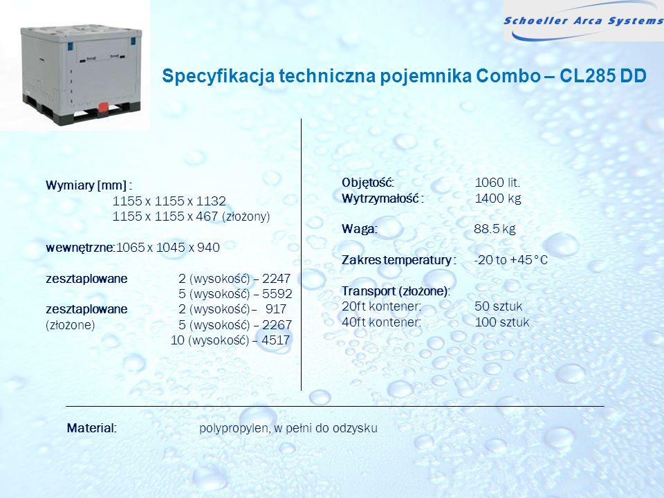 Specyfikacja techniczna pojemnika Combo – CL285 DD
