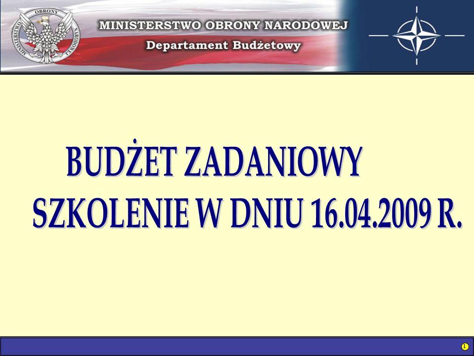 BUDŻET ZADANIOWY SZKOLENIE W DNIU 16.04.2009 R.