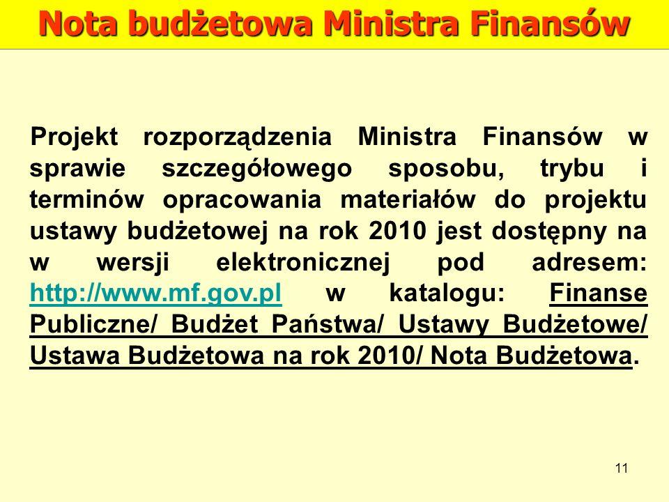 Nota budżetowa Ministra Finansów
