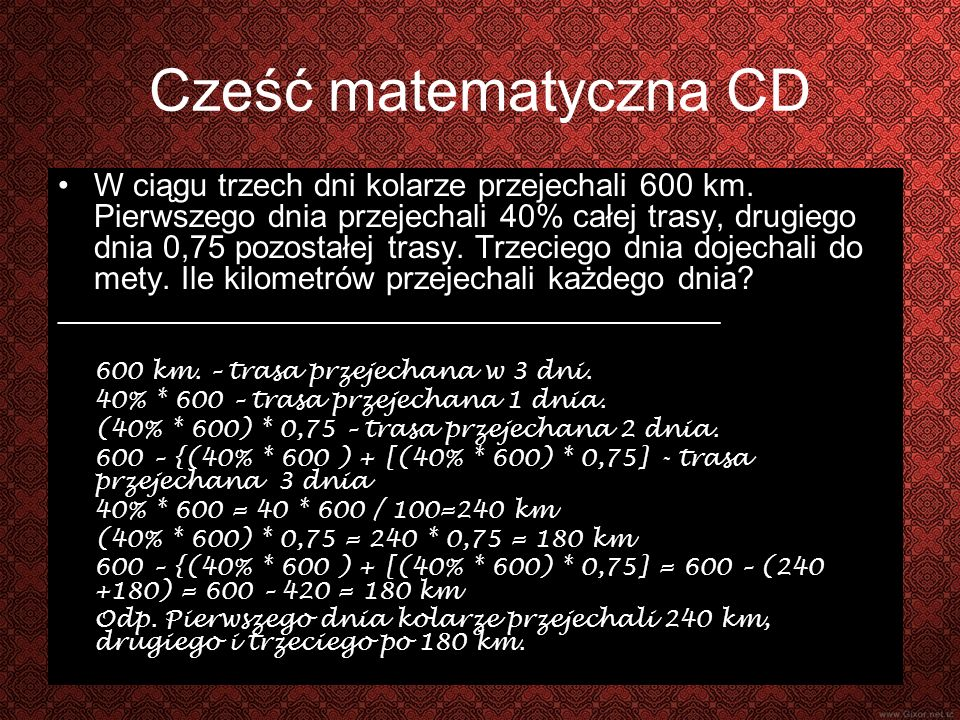 Cześć matematyczna CD