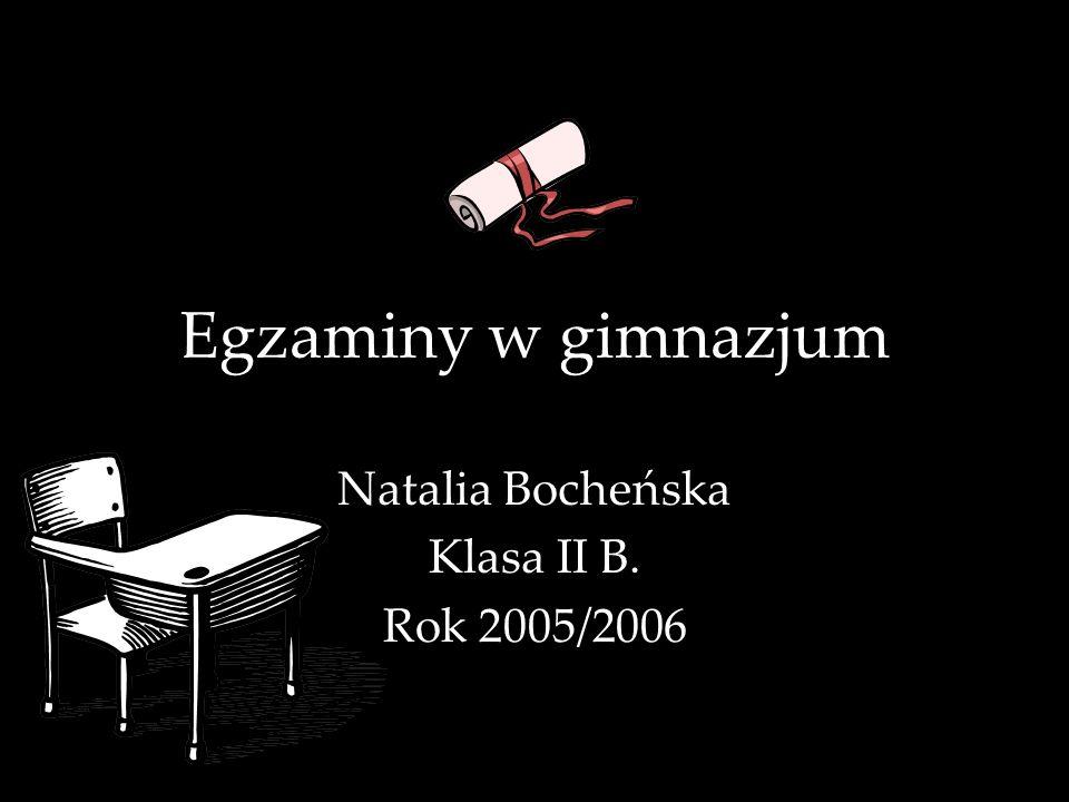 Natalia Bocheńska Klasa II B. Rok 2005/2006