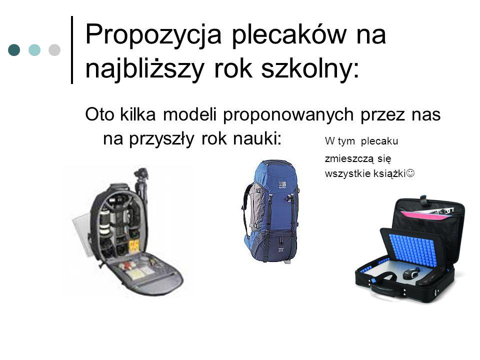 Propozycja plecaków na najbliższy rok szkolny:
