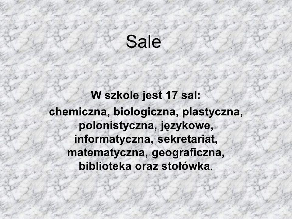 SaleW szkole jest 17 sal: