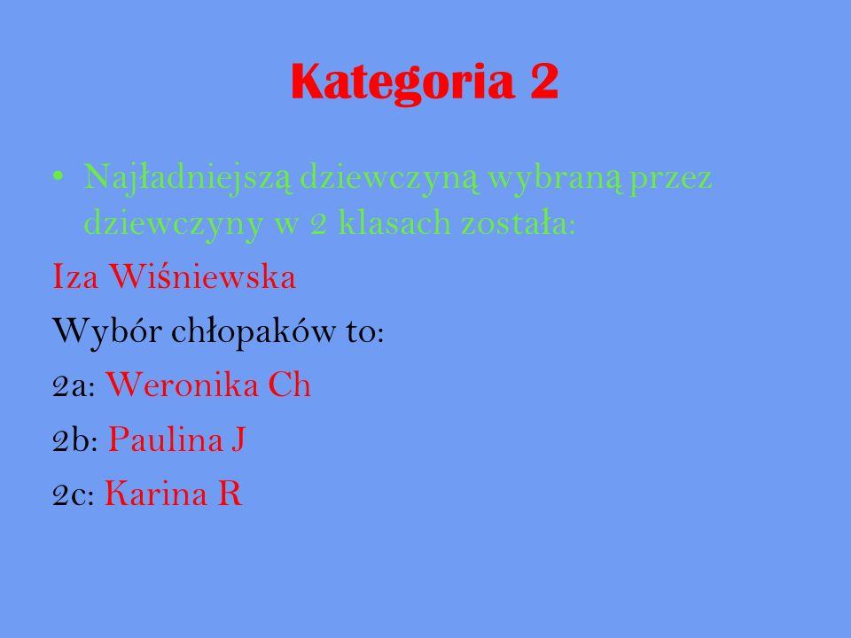 Kategoria 2 Najładniejszą dziewczyną wybraną przez dziewczyny w 2 klasach została: Iza Wiśniewska.
