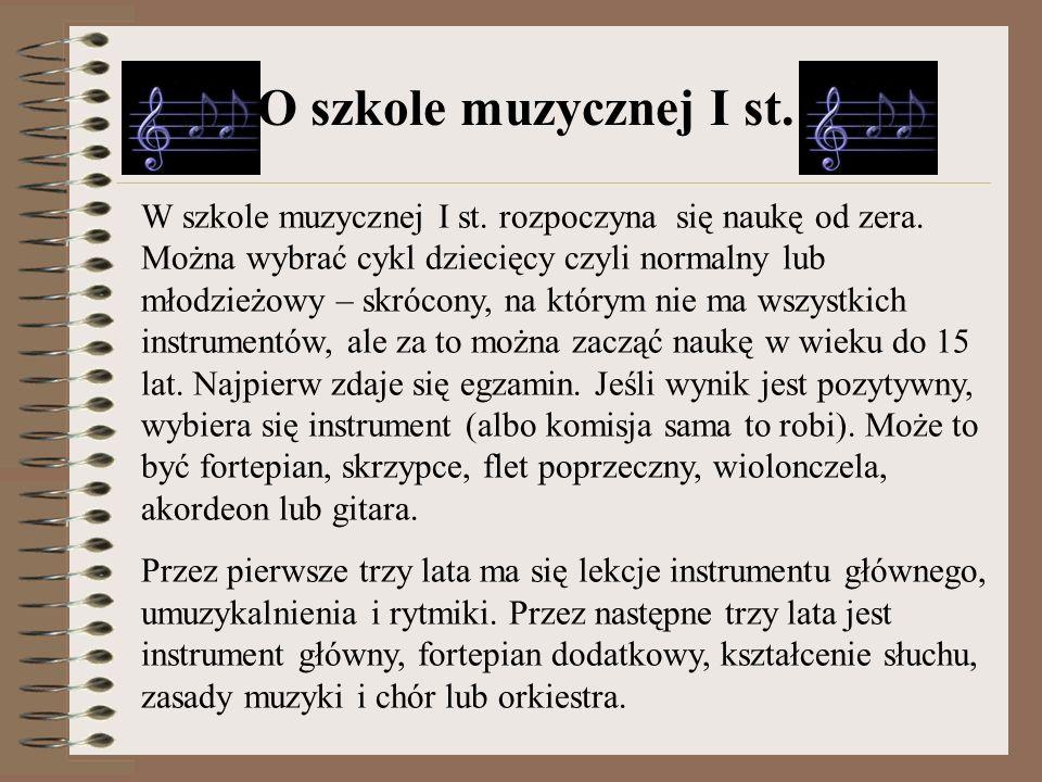 O szkole muzycznej I st.