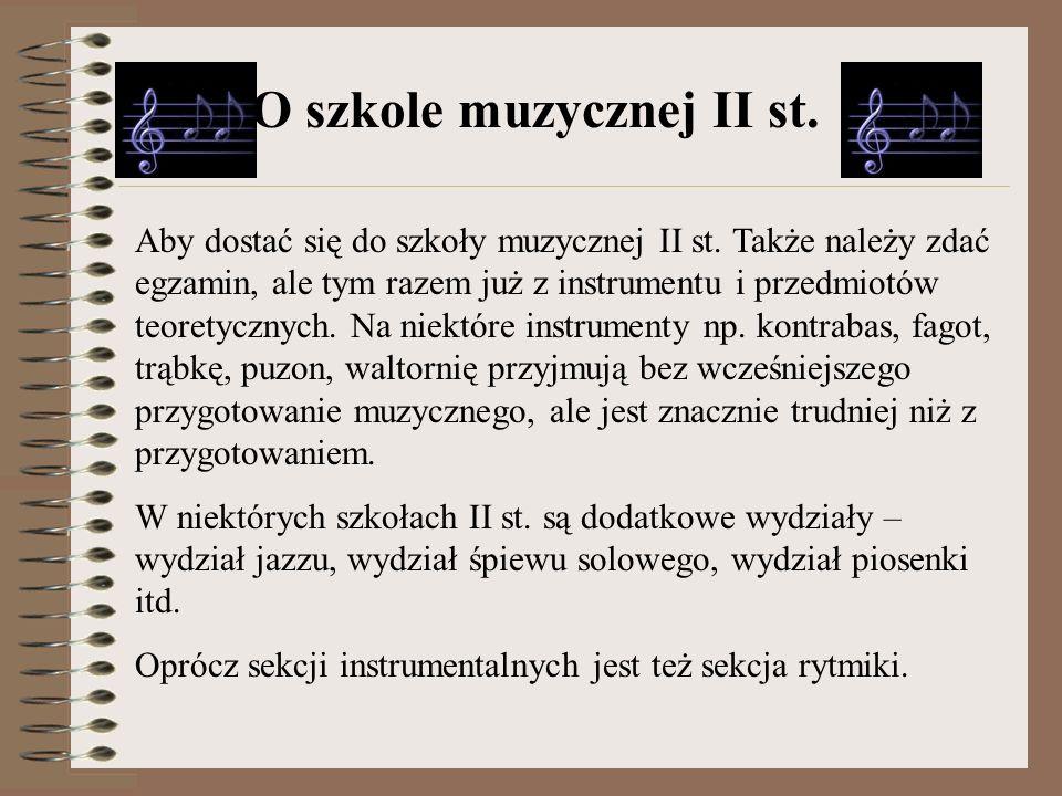 O szkole muzycznej II st.