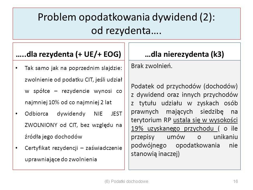 Problem opodatkowania dywidend (2): od rezydenta….