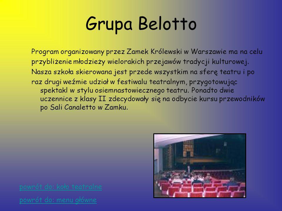 Grupa Belotto Program organizowany przez Zamek Królewski w Warszawie ma na celu. przybliżenie młodzieży wielorakich przejawów tradycji kulturowej.