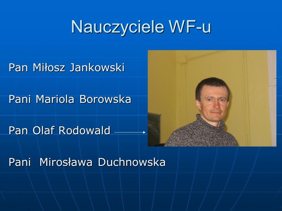 Nauczyciele WF-u Pan Miłosz Jankowski Pani Mariola Borowska