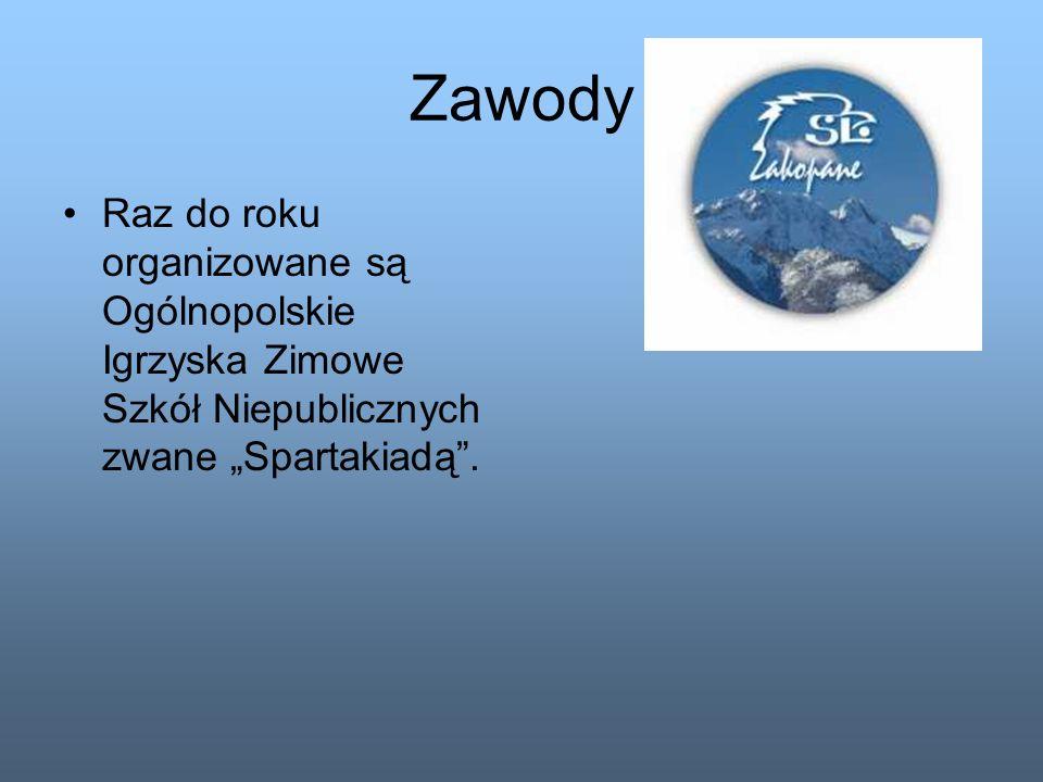 """Zawody Raz do roku organizowane są Ogólnopolskie Igrzyska Zimowe Szkół Niepublicznych zwane """"Spartakiadą ."""