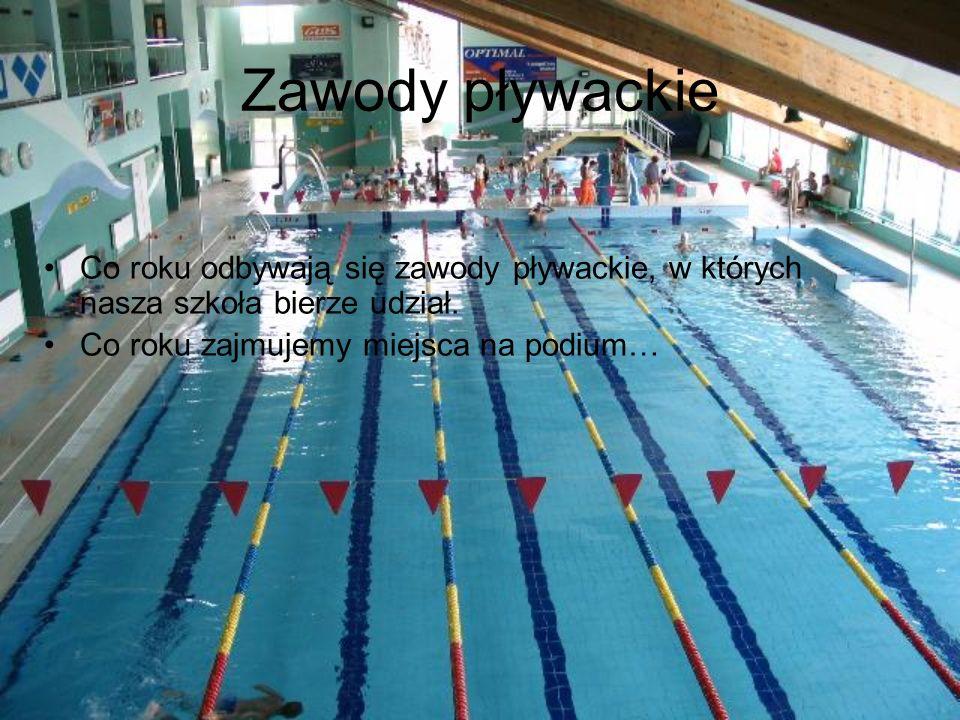 Zawody pływackie Co roku odbywają się zawody pływackie, w których nasza szkoła bierze udział.
