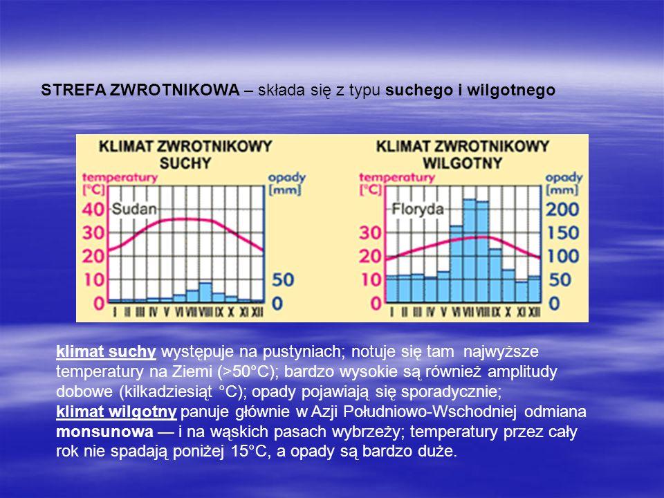 STREFA ZWROTNIKOWA – składa się z typu suchego i wilgotnego