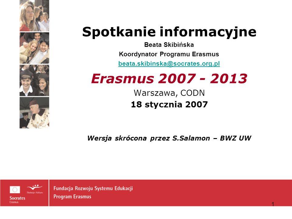 Koordynator Programu Erasmus Wersja skrócona przez S.Salamon – BWZ UW