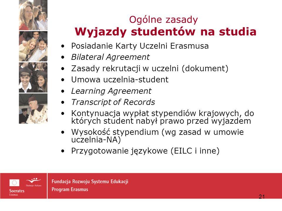 Ogólne zasady Wyjazdy studentów na studia