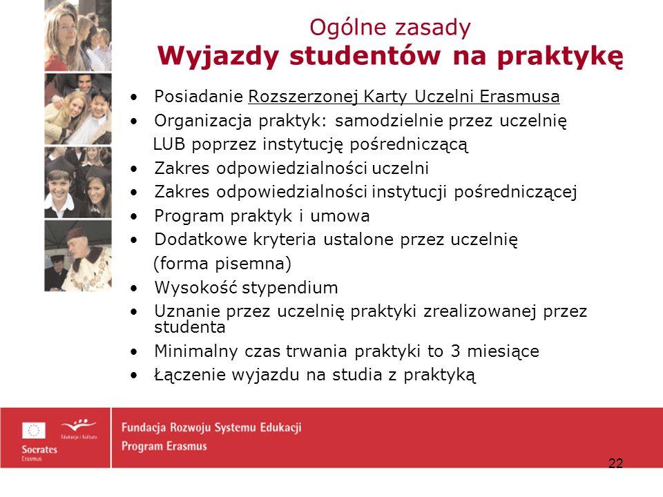 Ogólne zasady Wyjazdy studentów na praktykę
