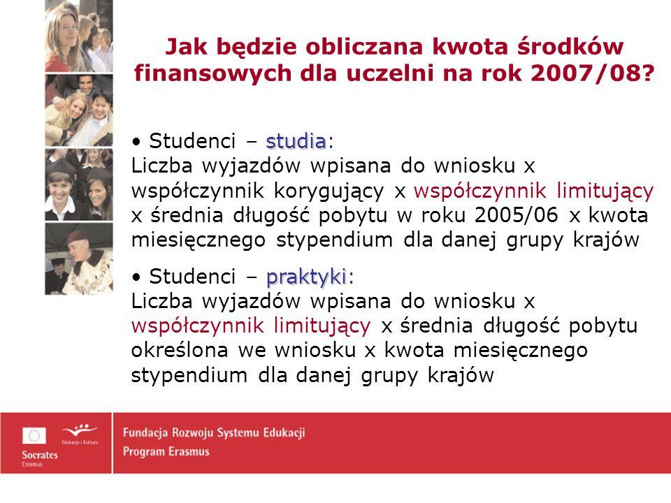 Jak będzie obliczana kwota środków finansowych dla uczelni na rok 2007/08