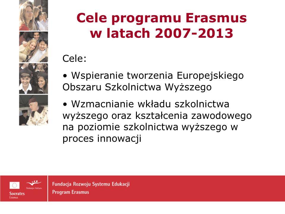 Cele programu Erasmus w latach 2007-2013