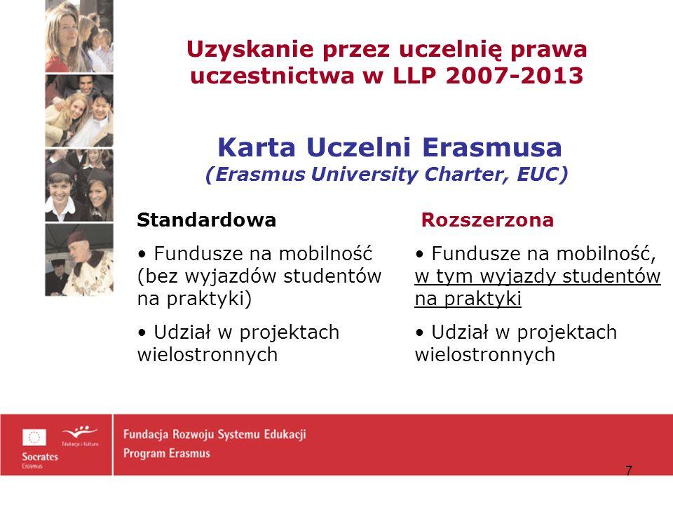 Uzyskanie przez uczelnię prawa uczestnictwa w LLP 2007-2013