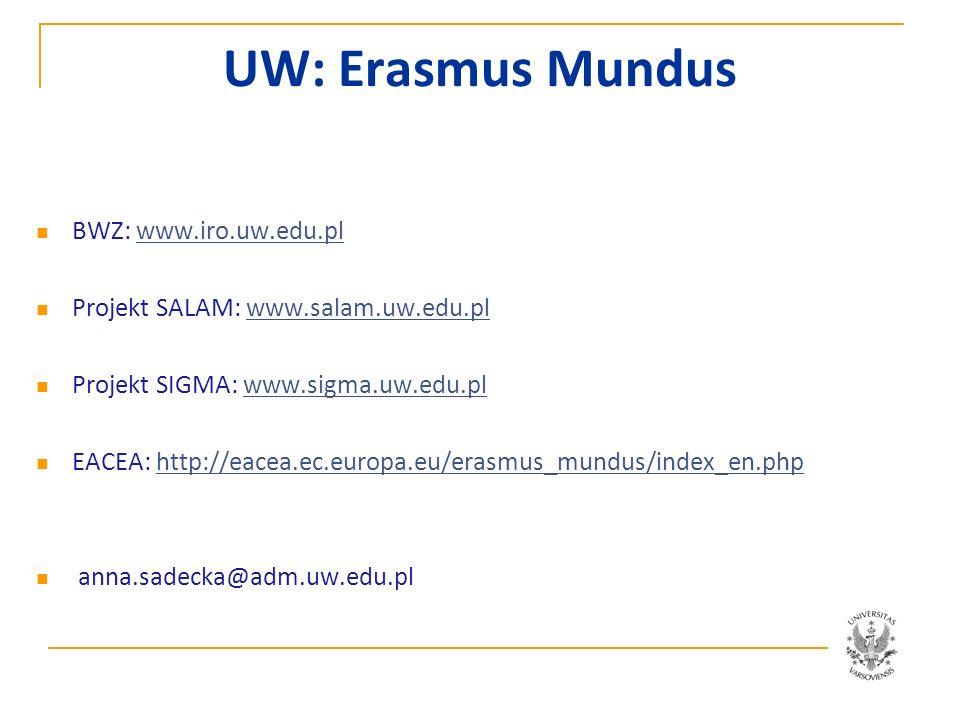 UW: Erasmus Mundus BWZ: www.iro.uw.edu.pl