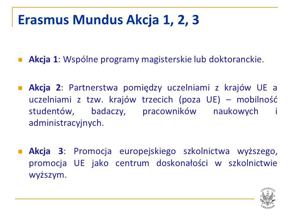 Erasmus Mundus Akcja 1, 2, 3 Akcja 1: Wspólne programy magisterskie lub doktoranckie.