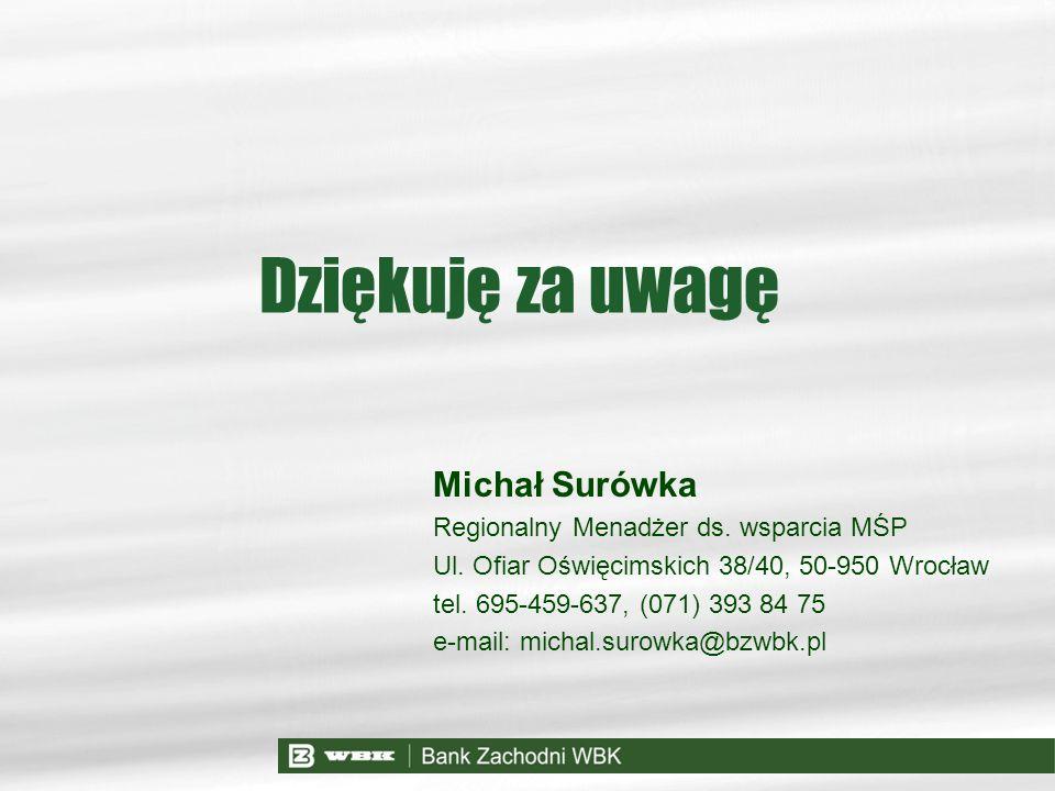 Dziękuję za uwagę Michał Surówka Regionalny Menadżer ds. wsparcia MŚP