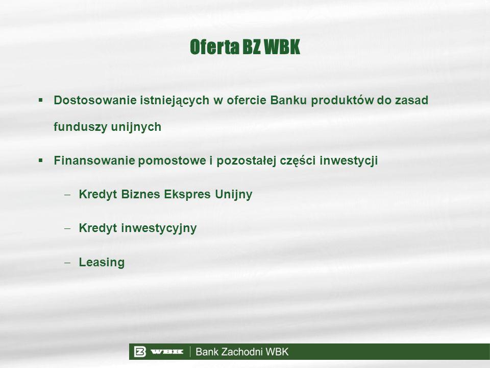 Oferta BZ WBK Dostosowanie istniejących w ofercie Banku produktów do zasad funduszy unijnych. Finansowanie pomostowe i pozostałej części inwestycji.