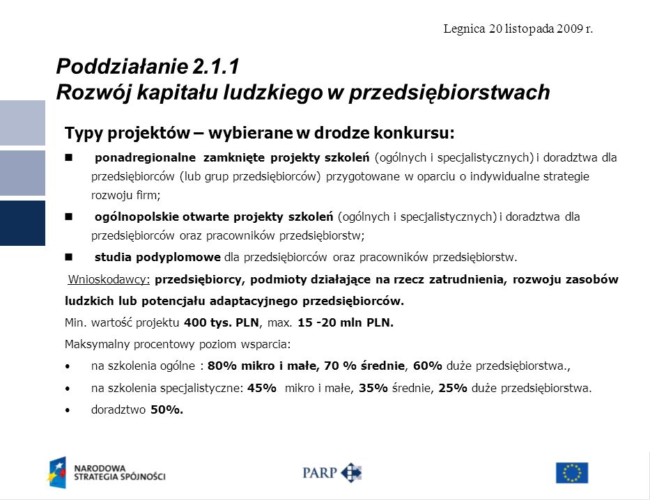 Poddziałanie 2.1.1 Rozwój kapitału ludzkiego w przedsiębiorstwach