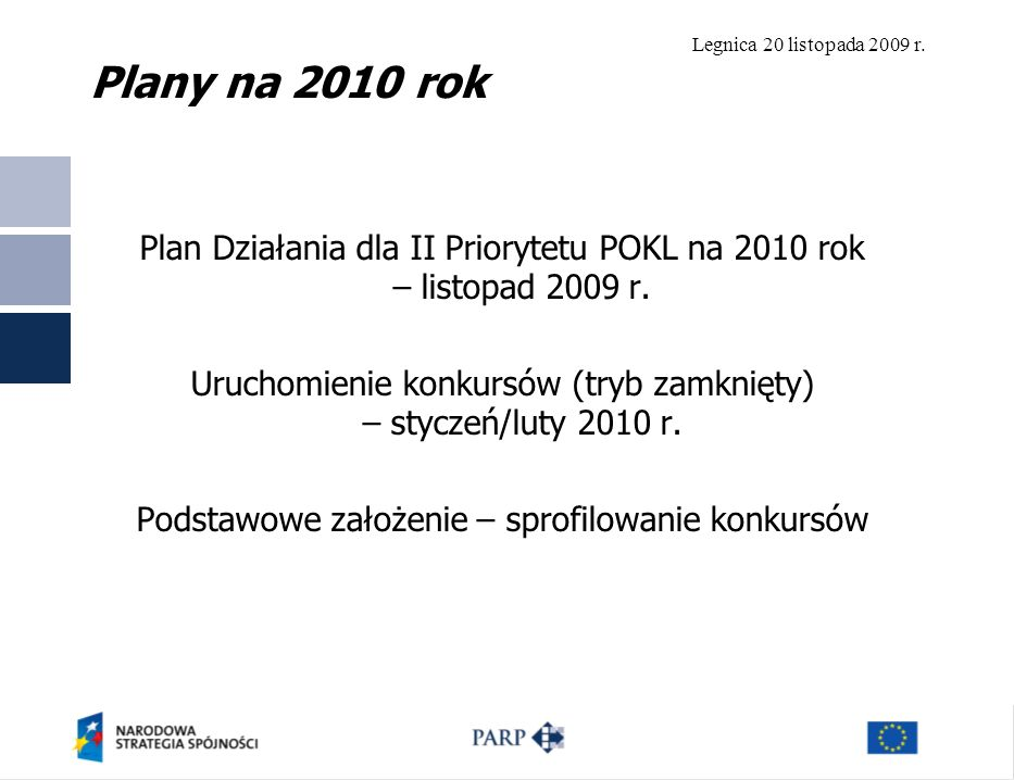 Plany na 2010 rok Plan Działania dla II Priorytetu POKL na 2010 rok – listopad 2009 r.