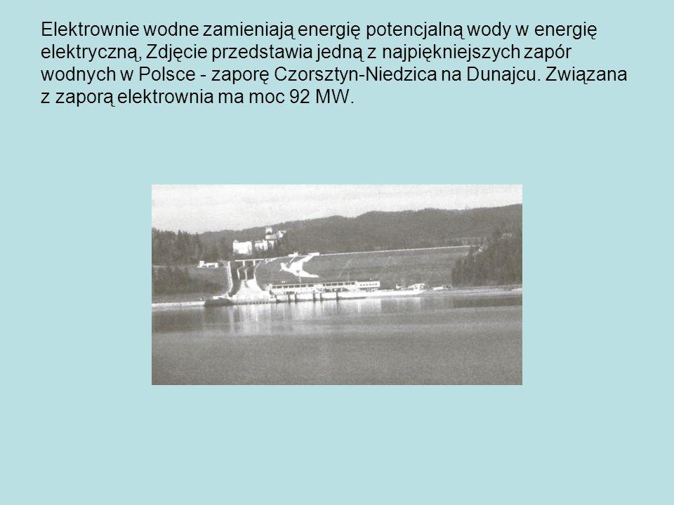 Elektrownie wodne zamieniają energię potencjalną wody w energię elektryczną, Zdjęcie przedstawia jedną z najpiękniejszych zapór wodnych w Polsce - zaporę Czorsztyn-Niedzica na Dunajcu.