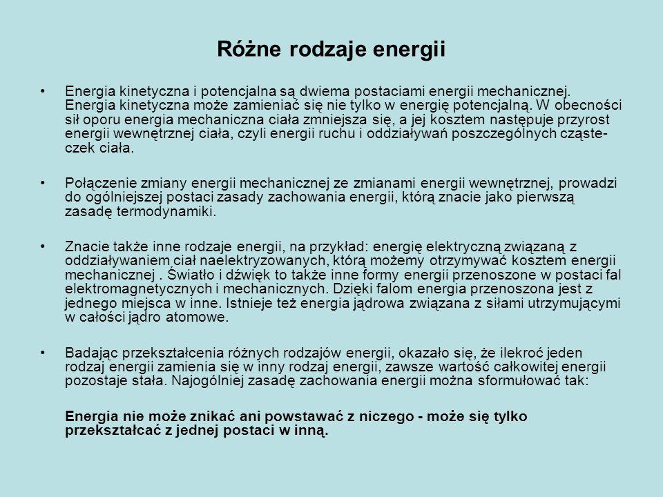 Różne rodzaje energii