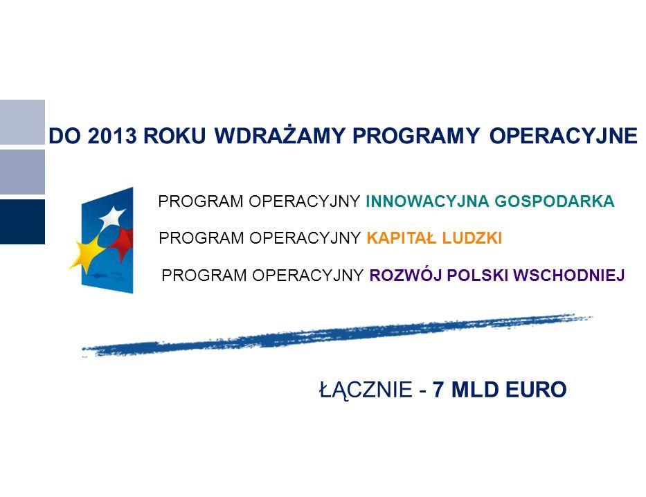 DO 2013 ROKU WDRAŻAMY PROGRAMY OPERACYJNE