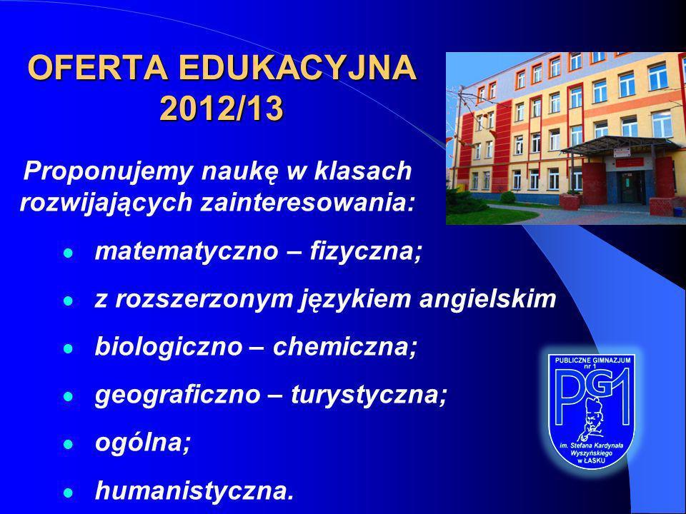 OFERTA EDUKACYJNA 2012/13 Proponujemy naukę w klasach rozwijających zainteresowania: