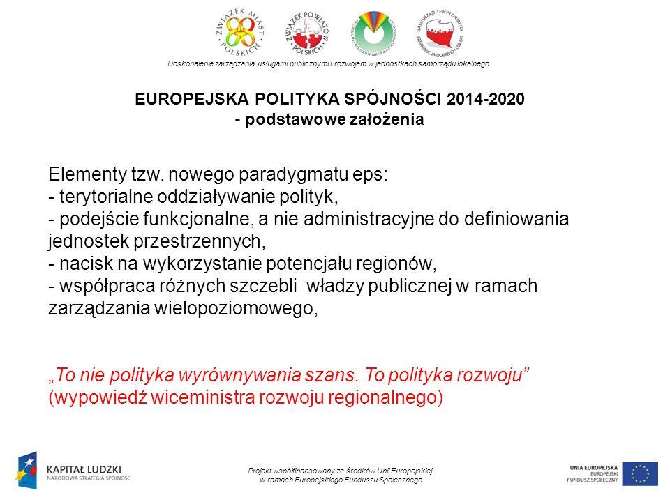 EUROPEJSKA POLITYKA SPÓJNOŚCI 2014-2020 - podstawowe założenia