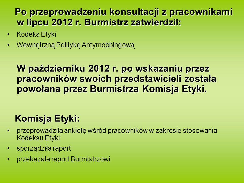 Po przeprowadzeniu konsultacji z pracownikami w lipcu 2012 r