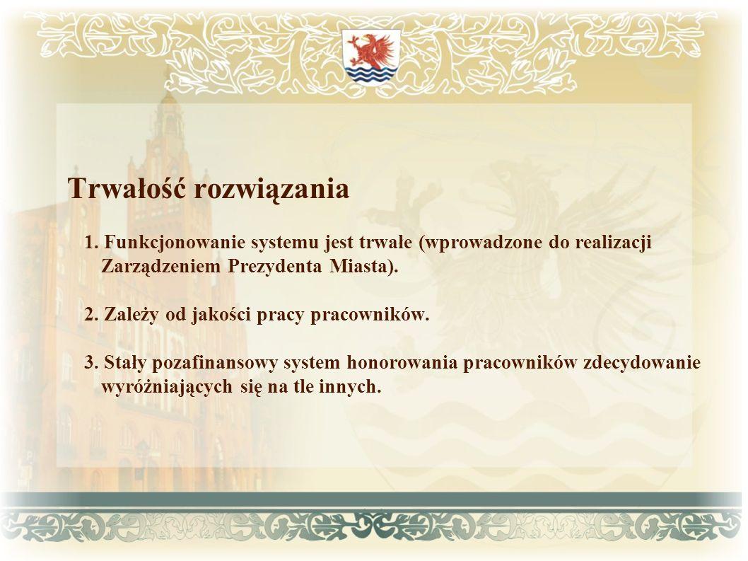 Trwałość rozwiązania 1. Funkcjonowanie systemu jest trwałe (wprowadzone do realizacji Zarządzeniem Prezydenta Miasta).
