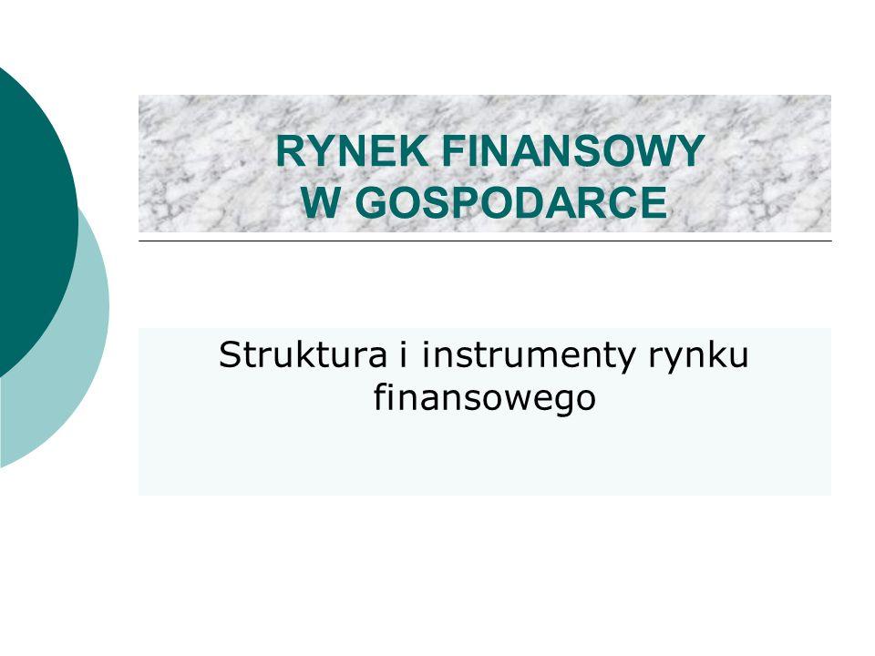 RYNEK FINANSOWY W GOSPODARCE