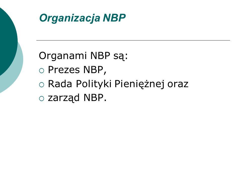Organizacja NBP Organami NBP są: Prezes NBP,