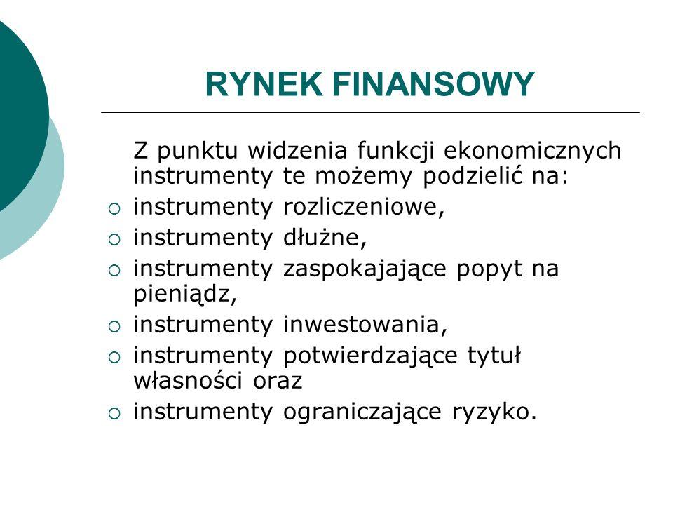 RYNEK FINANSOWY Z punktu widzenia funkcji ekonomicznych instrumenty te możemy podzielić na: instrumenty rozliczeniowe,