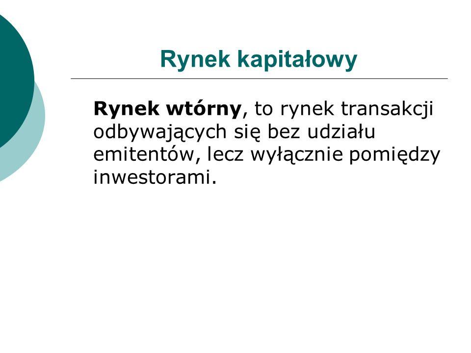 Rynek kapitałowyRynek wtórny, to rynek transakcji odbywających się bez udziału emitentów, lecz wyłącznie pomiędzy inwestorami.