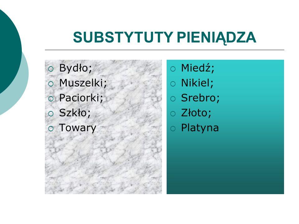 SUBSTYTUTY PIENIĄDZA Bydło; Muszelki; Paciorki; Szkło; Towary Miedź;