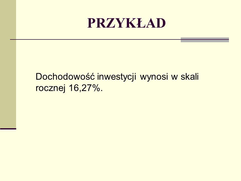 PRZYKŁAD Dochodowość inwestycji wynosi w skali rocznej 16,27%.