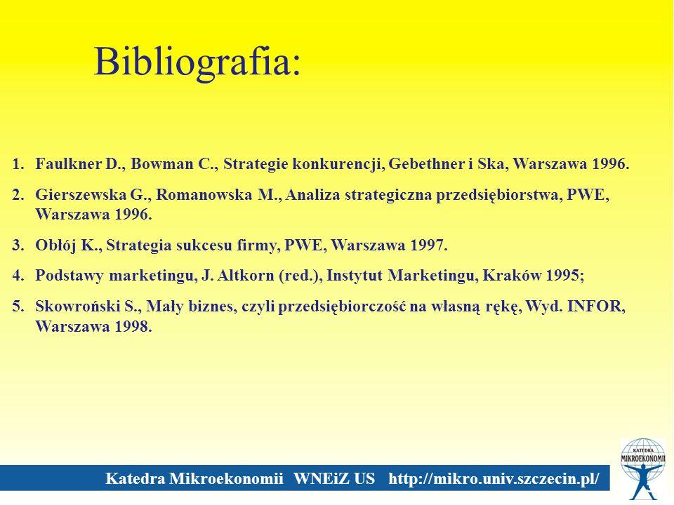 Bibliografia: Faulkner D., Bowman C., Strategie konkurencji, Gebethner i Ska, Warszawa 1996.