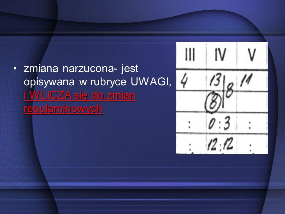 zmiana narzucona- jest opisywana w rubryce UWAGI, i WLICZA się do zmian regulaminowych