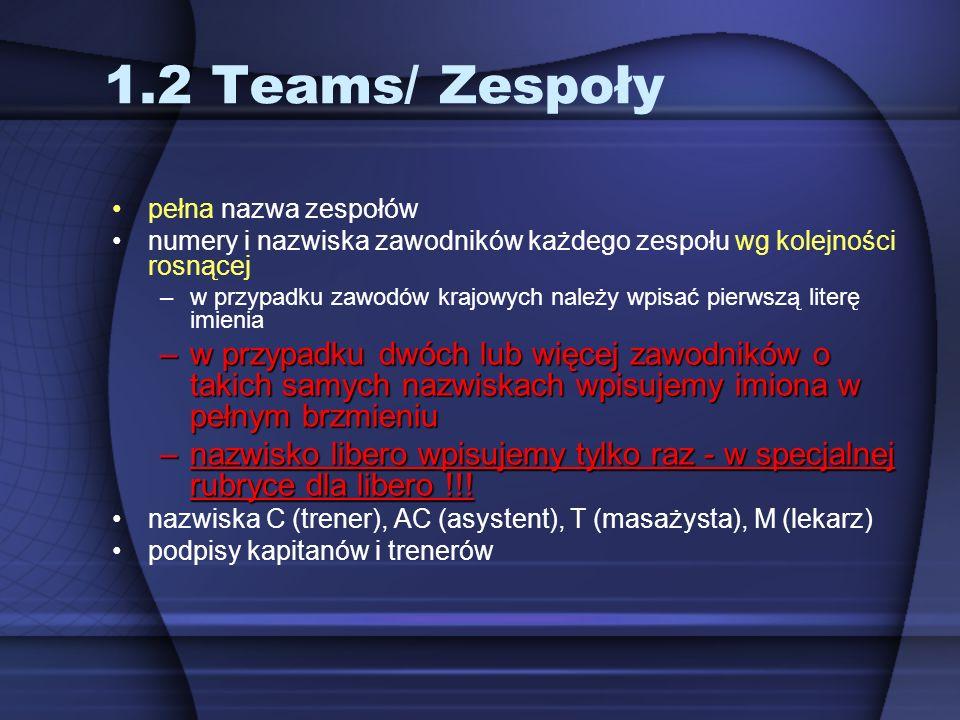 1.2 Teams/ Zespoły pełna nazwa zespołów. numery i nazwiska zawodników każdego zespołu wg kolejności rosnącej.