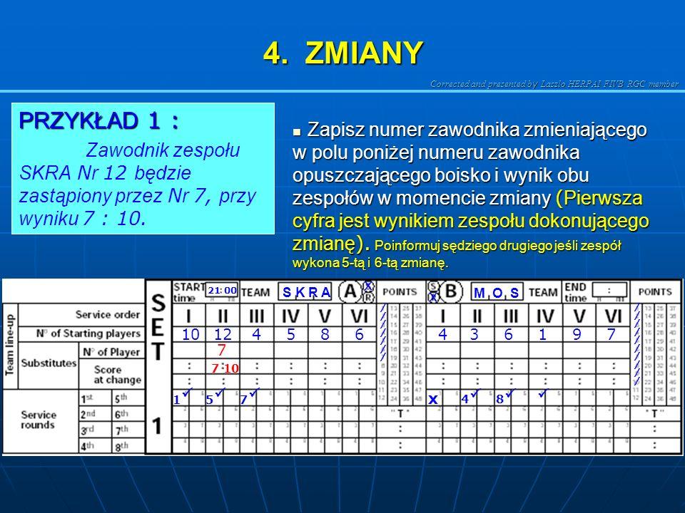 4. ZMIANY PRZYKŁAD 1 : Zawodnik zespołu SKRA Nr 12 będzie zastąpiony przez Nr 7, przy wyniku 7 : 10.