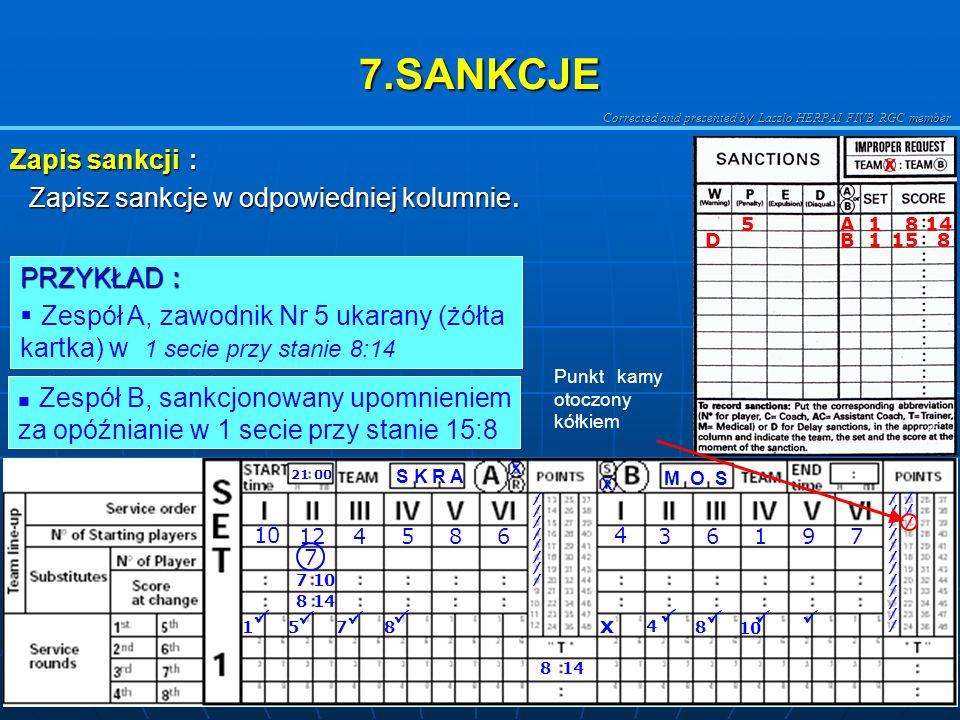 7.SANKCJE Zapis sankcji : Zapisz sankcje w odpowiedniej kolumnie.