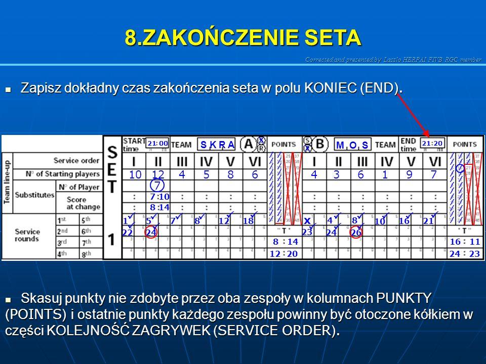 8.ZAKOŃCZENIE SETA Zapisz dokładny czas zakończenia seta w polu KONIEC (END). M O S. S K R A. 21 00.