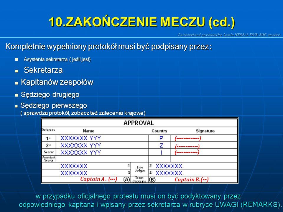10.ZAKOŃCZENIE MECZU (cd.)