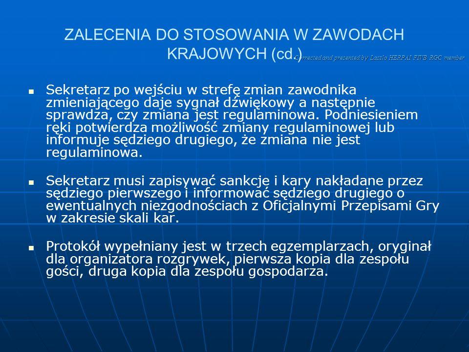 ZALECENIA DO STOSOWANIA W ZAWODACH KRAJOWYCH (cd.)