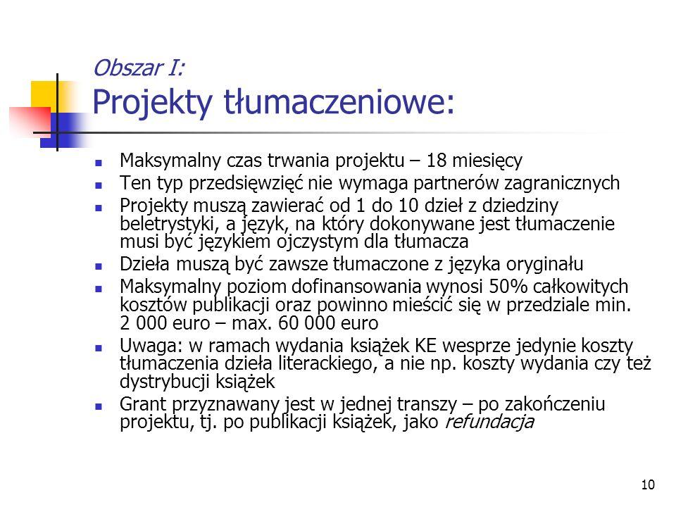 Obszar I: Projekty tłumaczeniowe: